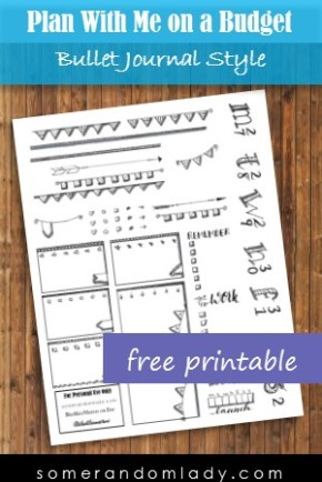 Plan With Me on a Budget, Video Vlog for March 27, 2017, Themes for Less: Bullet Journal Style with a Free Printable
