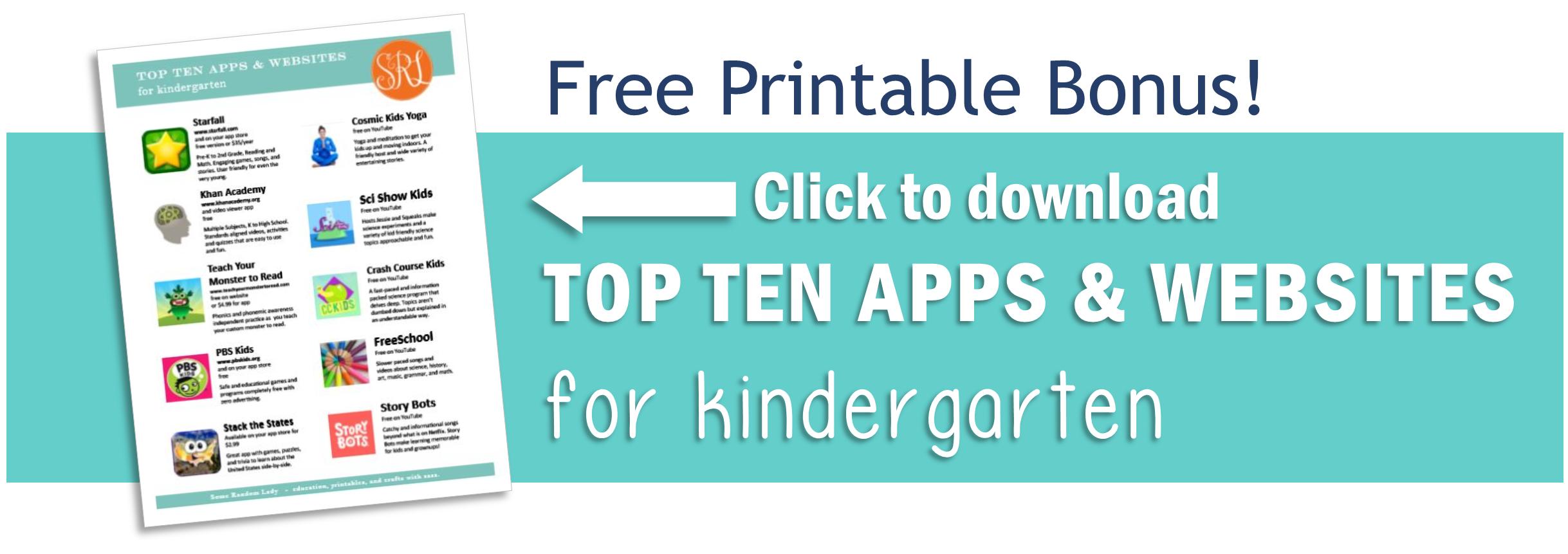 Free Printable Bonus - Top Ten Apps and Websites for Kindergarten